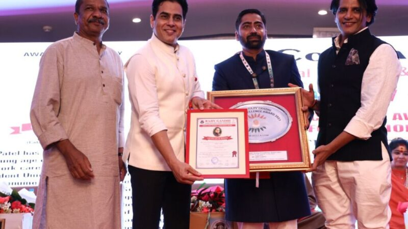 Niket Patel, A Young Social Worker Conferred with Rajiv Gandhi Award In Delhi